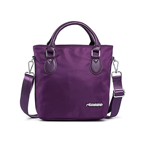 Katloo Top Handle Bag Small Nylon Handbags for Women Crossbody Tote Bags Handbag Purses Lightweight Water Resistant (Purple) by Katloo