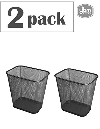 Ybmhome Steel Mesh Rectangular Open Top Waste Basket Bin Trash Can for Office Home 8x12x12 Inches 1103s-2 (2, Black) by Ybmhome