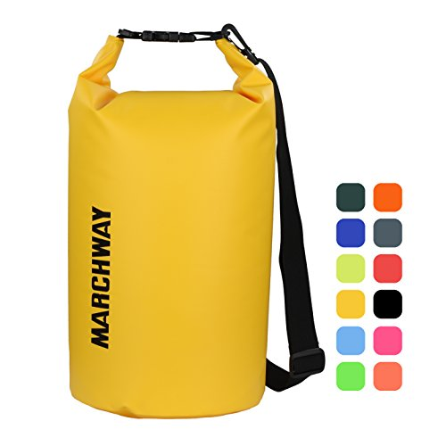 MARCHWAY Floating Waterproof Duffle Dry Bag 5L/10L/20L/30L, Roll Top Sack Keeps Gear Dry for Kayaking, Rafting, Boating, Swimming, Camping, Hiking, Beach, Fishing (Deep Yellow, 20L) ()
