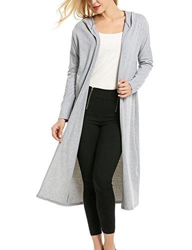 Ouvert Haut Uni Long Casual Femme Cardigan Meaneor Manche Gilet Longue 0vpXfz