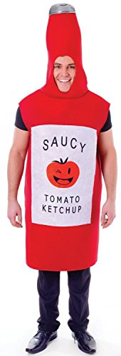 Mens Ladies Red Tomato Sauce Fast Food Funny Stag Do Night Festival Group Fancy Dress Costume Outfit (Tomato Sauce) -