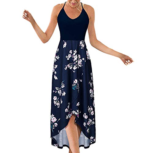 Women's Dress Halter V Neck Sleeveless Summer Casual Asymmetrical Patchwork Floral Maxi Dresses 42' Hanging Bar Rack
