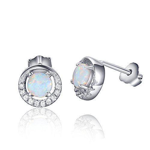 (Acxico Round Shape 925 Sterling Silver with Natural Opal Stones Crystal Inlaid Stud Earrings)