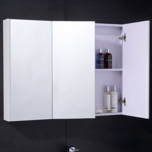 Bathroom Mirror Cabinet Wall Storage Furniture 90cm Mounted Hung Recessed Large Modern Designer Glass 3 Door With White Edge Amazoncouk Kitchen Home