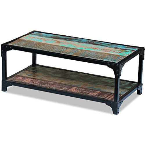 vidaXL Solid Reclaimed Wood Coffee Couch Side Tea Table Multicolor Steel Frame
