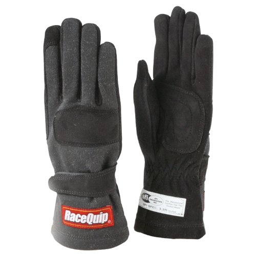 RaceQuip 355005 355 Series Large Black SFI 3.3/5 Two Layer Racing Gloves