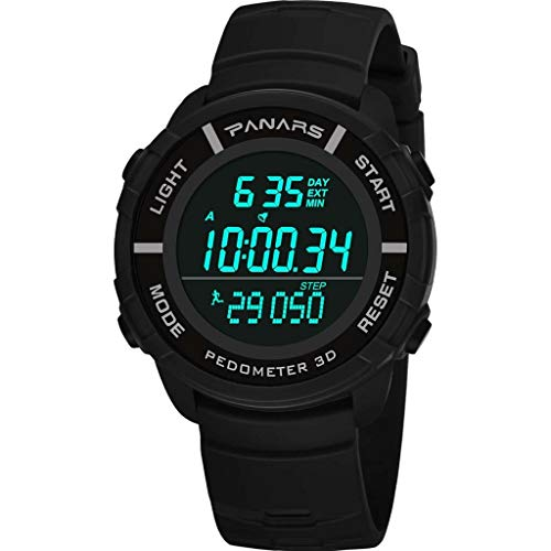 PANARS Outdoor Sport Watch,Multifunction Luminous LED 30m-Waterproof Round Digital Watch Date Alarm Silicone Wristwatch(Black)