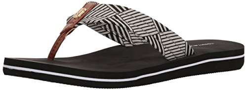 Tommy Hilfiger Women's chalk Flip-Flop, Black, 8 M US