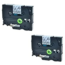 SuperInk 2 PK Compatible Black on Clear TZ121 TZ-121 TZE121 TZE 121 Label Tape For Brother P-Touch GL-100 PT200