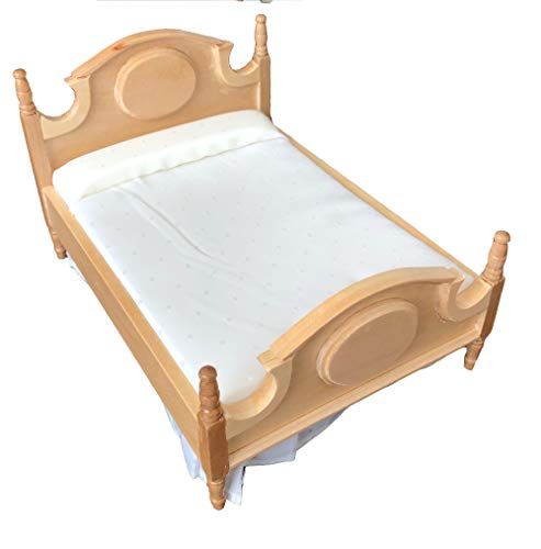Inusitus Wooden Dollhouse Queen Bed - Dolls House Furniture Queen Bed- 1/12 Scale (Light Brown) ()