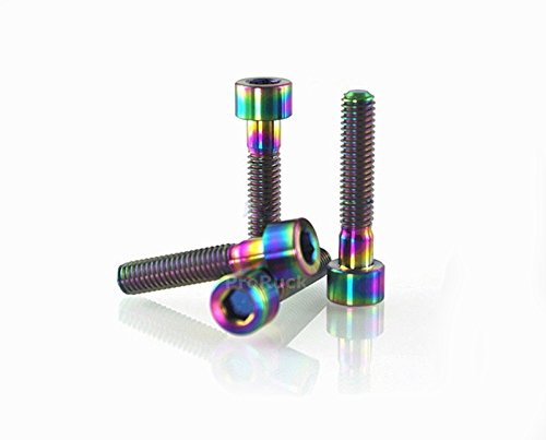 ProRuck M6x35mm Headset Stem Top Cap Titanium Bolts MTB Tapered Head Ti Screws for Fixing Stem Top Cap 2pcs (Multi-Color)