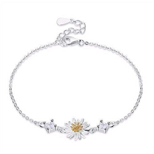 - Fashion 925 Sterling Silver Link Chain Daisy Charm Bracelet for Women Enamel Flower Bracelets