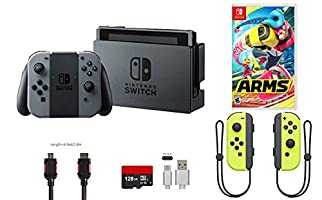 Nintendo Switch Bundle (7 items): 32GB Console Gray Joy-con, 128GB Micro SD Card, Nintendo Joy-Con (L/R) Wireless Controllers Yellow, Game Disc-ARMS, Type C Cable, HDMI Cable Wall Charger
