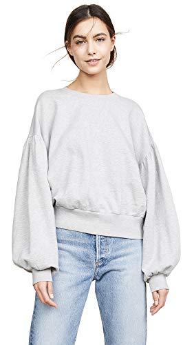 FRAME Women's Shirred Sleeve Sweatshirt, Gris, Grey, Medium