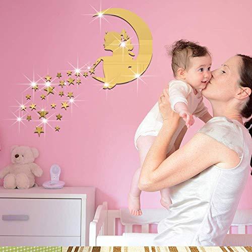 - JQSM Creative Building Blocks Puzzle Magic Girl Star Moon Mirror Wall Sticker Acrylic Stereo Wall Sticker
