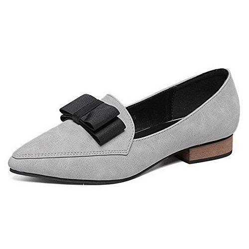 AalarDom Womens Solid Soft Material Pull-On Pointed-Toe Low-Heels Pumps-Shoes Gray-bowknot 0EUNGoGF3