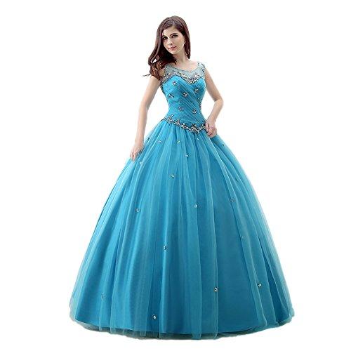 Trägern Illusion Tüll engerla Rüschen Quinceanera Frauen Büste Kristall Ballkleid Blau Kleid CEA1q5