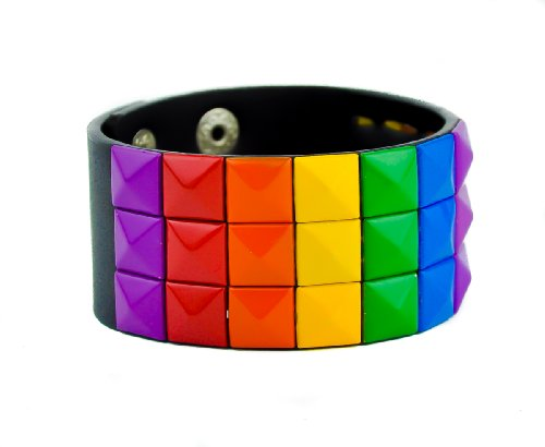 (Rainbow 3 Row Pyramid Stud Wristband Alternative Clothing Bracelet)