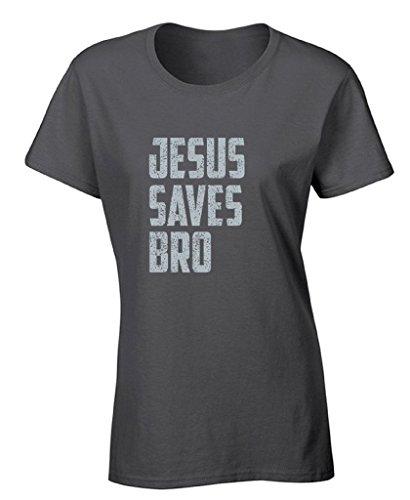 Raxo Women's Jesus Saves Bro T-shirt Gray Vintage Religious Christian Shirt