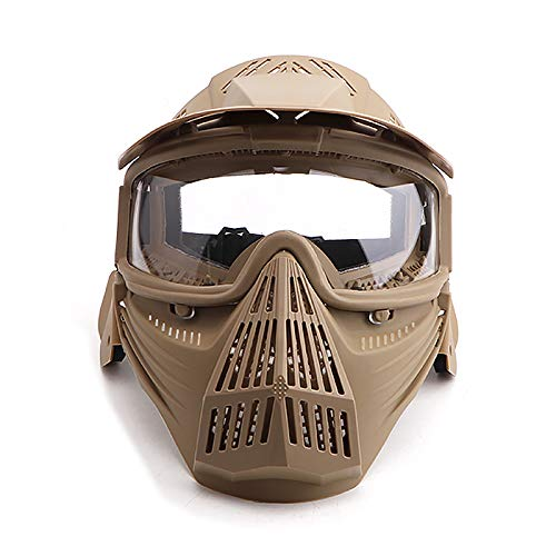 Senmortar Paintball Mask Airsoft Masks Full Face Tactical Protection Gear with Clear Glasses for Halloween BBS CS Game Costume Accessories Motocross Skiing Tan & ClearLens
