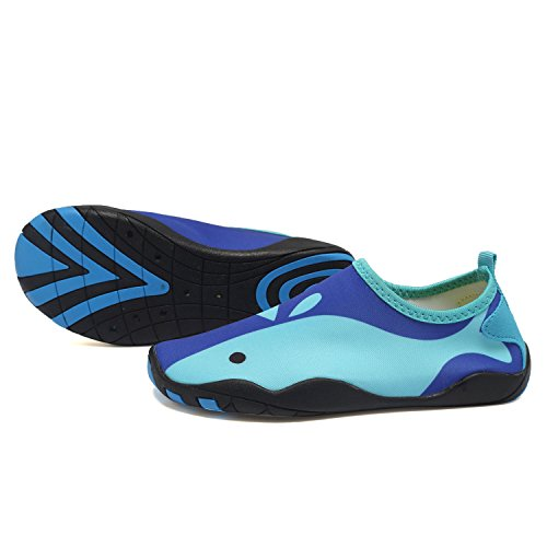 CIOR Kids Water Shoes Quick-Dry Boys and Girls Slip-On Aqua Beach Sneakers (Toddler/Little Kid/Big Kid),W18,W.Blue,25 3