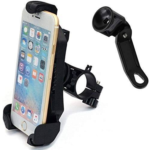 DHYSTAR Motorcycle Phone Holder, Universal Cell Phone Holder Mount Bracket Stand for Motorcycle,Scooter,Bike,Bicycle Fits Most Mobile Smartphones on Handlebar/Mirror Base,Adjustable 360 Swivel Black