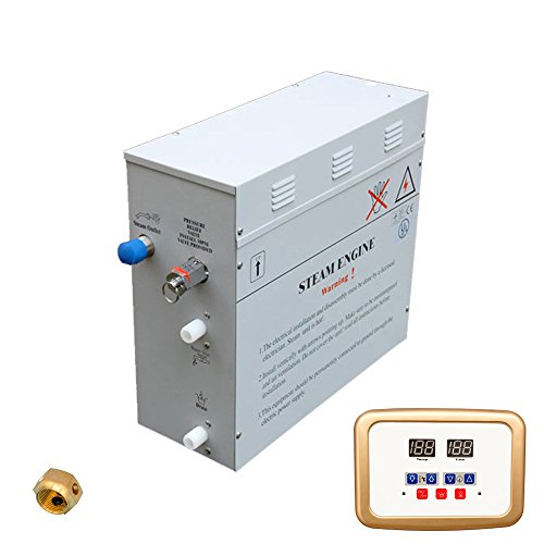 Superior 9kW Self-Draining Steam Bath Generator with Waterproof Programmable Controls and Gold Steam Outlet