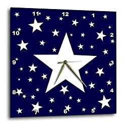 3dRose Alexis Design - America - Fifty Stars Of Freedom. Large, small white stars on navy blue - 10x10 Wall Clock (dpp_288371_1)