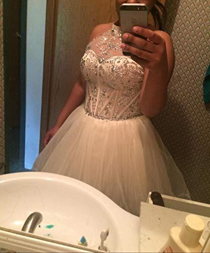198b244534e ... Dresses OYISHA Women s Short Beading Halter Homecoming Prom Dresses  Backless Champagne 14.   