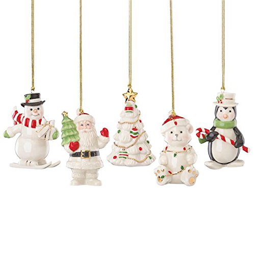 Lenox Christmas Ornament Gift Set 5 Piece Snowman Penguin Santa Tree Bear