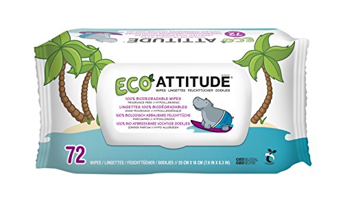 ATTITUDE Fragrance-Free Eco-Baby Wipes, 216 Count (Pack of 6) by ATTITUDE