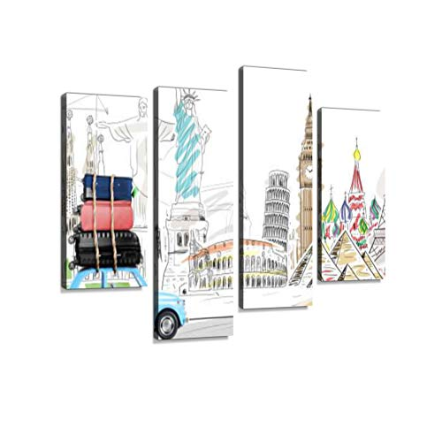 Travel by car Canvas Wall Art Hanging Paintings Modern Artwork Abstract Picture Prints Home Decoration Gift Unique Designed Framed 4 Panel