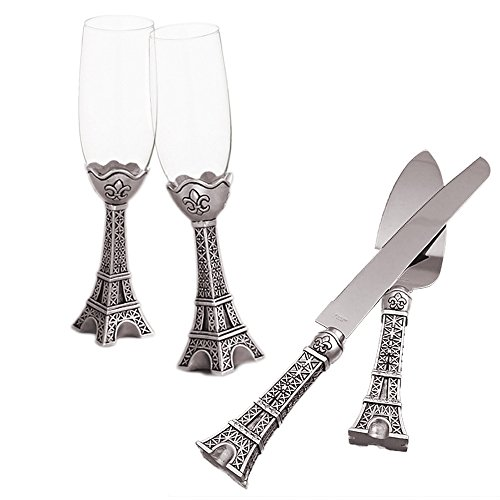Fashioncraft Cake Knife and Server Set with Champagne Toasting Flutes Set for Wedding or Anniversary, Paris with Love Collection Silver (Collection Server Set)