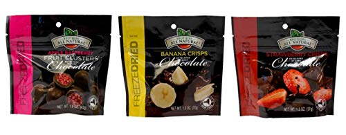 Brothers-ALL-Natural Drak Chocolate Covered Freeze Dried Fruit Crisps 3 Flavor Variety Gift Bundle, 1 each: Apple Raspberry, Banana, Strawberry (1.3-1.5 Ounces)