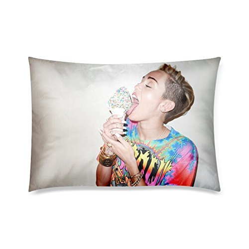 Home Decor Custom Ice Cream Miley Cyrus Zippered Pillow Case Twin Sides 20x30 Inch