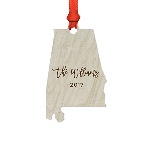 Andaz Press Personalized Laser Engraved Wood US State Christmas Ornament, Custom Names, Alabama, 1-Pack, Includes Ribbon and Gift Bag ()
