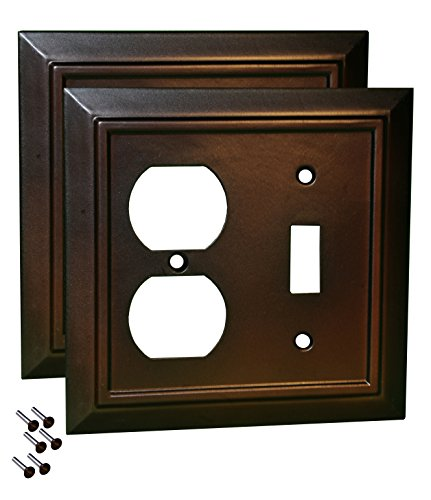 Pack of 2 Wall Plate Outlet Switch Covers by SleekLighting | Decorative Dark Brown Mahogany Look | Variety of Styles: Decorator/Duplex/Toggle / & Combo | Size: 2 Gang Combo Toggle and Receptacle ()