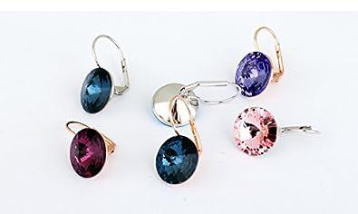 48564a1bd07a Crystals from Swarovski Rosa Redondo Pendientes 18k Chapado en oro blanco  para mujer  Amazon.es  Joyería