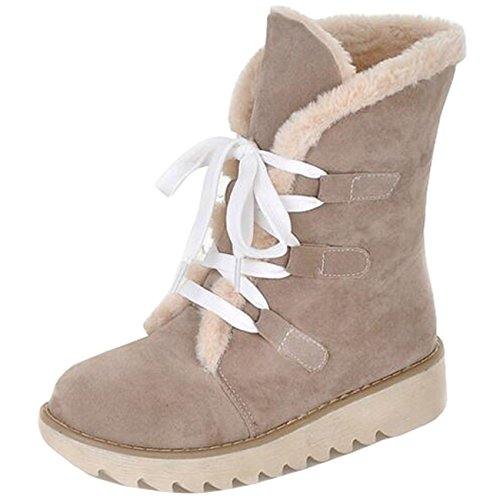 Binying Women's Round-Toe Platform Flat Lace-up Snow Boots Beige aDqoqz