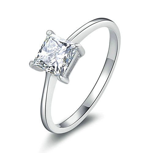 (Aokarry Ladies Jewelry S925 Silver Engagement Ring Zirconia 4-Prong Setting Princess Cut Cubic Zirconia Size 5.5)