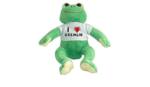 Rana de peluche con Amo Gremlin en la camiseta (nombre de pila ...