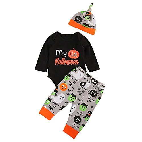 BELS Baby Boys Girls Christmas Halloween Romper My 1st Bodysuit and Pants with Hat Winter Outfit (Black2, 6-12M) -