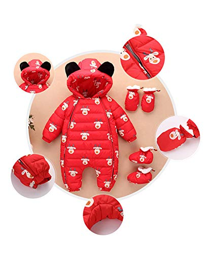 Romper Snowsuit 3 Baby Boy Warm Romper Pieces Fairy Winter Red Girl Snuggly Jumpsuit Baby Yq15nP