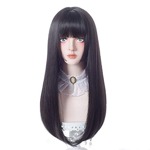 aiyaya Lolita Cosplay Wig with Bangs - Straight Synthetic Wig For Women Cosplay Costume, Natural Hair Lolita Wig with Wig Cap (Black (long wig))