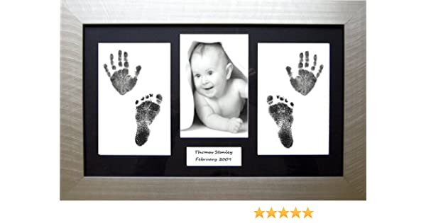 Black mount BabyRice Baby//Toddler Handprint Footprint Kit with 14.5x8.5 Black Frame