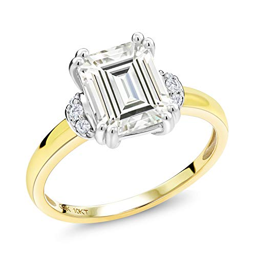 10K Yellow Gold Solitaire w- Accent Stones Ring Forever Classic (HIJ) Octagon 2.10ct (DEW) Created Moissanite by Charles & Colvard and Diamond (Size - Solitaire Gold Diamond Accents Ring