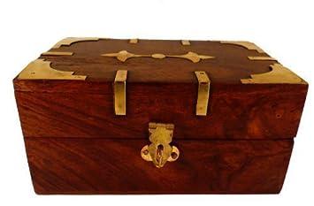 Cofre Tesoro Caja De Madera con Latón Decorativo Diseño y latón Cierre PARA ALMACENAMIENTO Joyería o Keepsakes: Amazon.es: Hogar