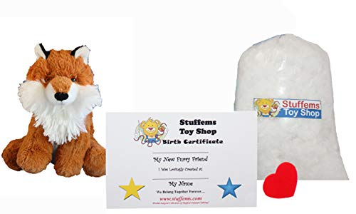 Make Your Own Stuffed Animal Mini 8 Inch Super Fluffy Fox Kit - No Sewing Required! -