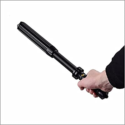 Tactical Elite Heavy Duty Outdoor Survival Expandable Retractable Adjustable Telescopic Rechargeable Baton Long Range Bright LED Combo Window Breaking Flashlight (Usb Charger and Battery Set Included)