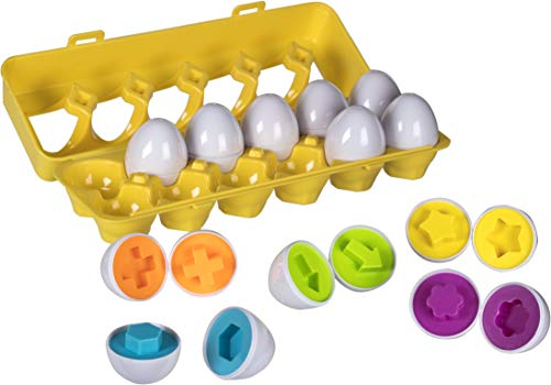 Play Shapes - Play Brainy Shape and Color Matching Eggs - Fun Easter Egg Toy - Educational STEM Toy for Toddlers and Preschoolers - Great for Color and Shape Recognition Development - Set of 12 Shape Eggs,